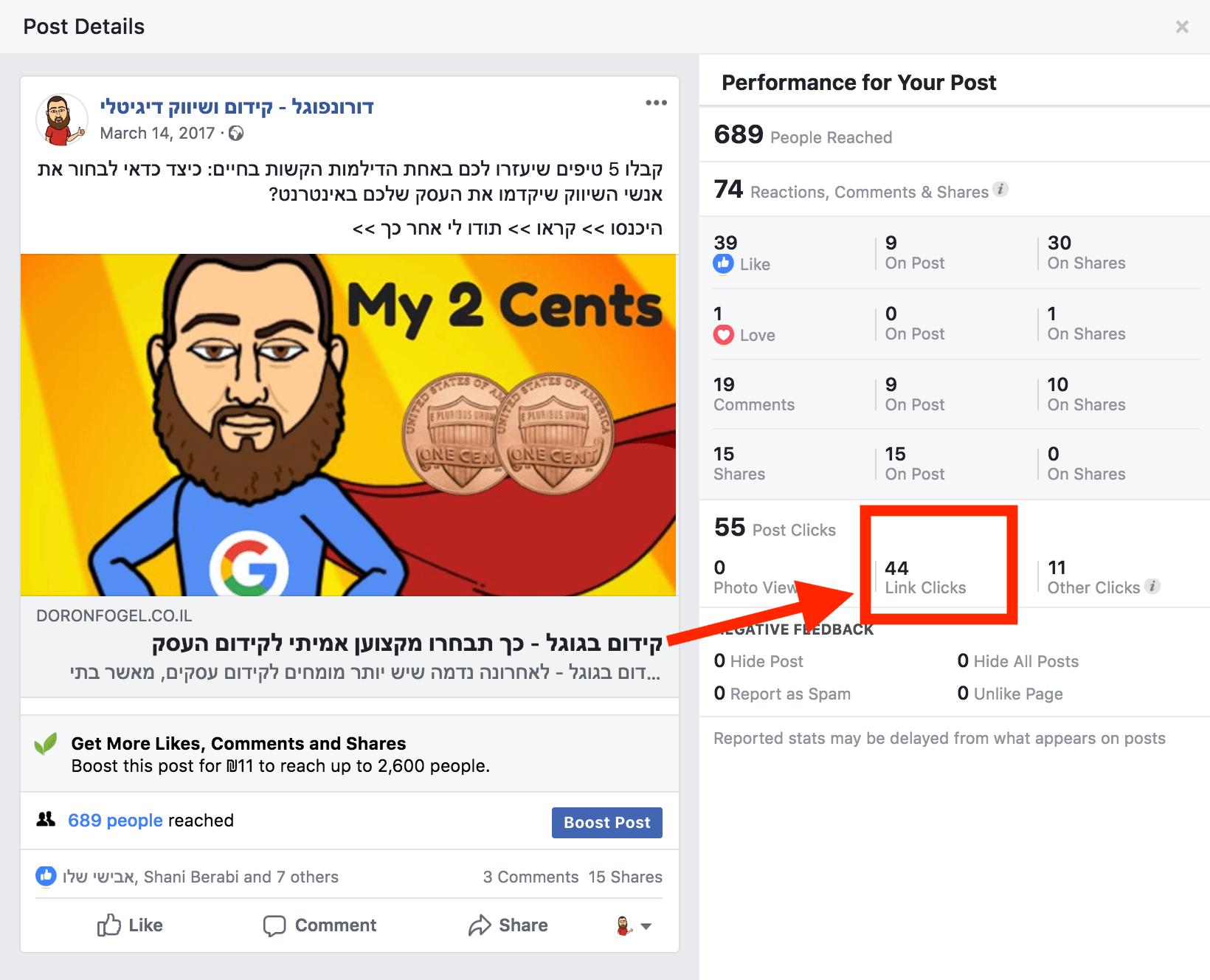 פרסום מאמר בפייסבוק